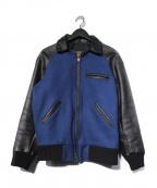 skookum(スクーカム)の古着「袖レザースタジャン ジャケット」 ブラック×ブルー