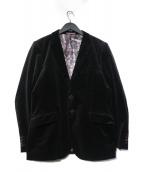 PS Paul Smith(ピーエスポールスミス)の古着「裏地コインプリントベロアジャケット」|ブラック
