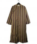1er Arrondissement(プルミエ アロンディスモン)の古着「ストライプロングシャツワンピース」|ブラウン