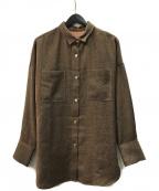 Adam et Rope(アダムエロペ)の古着「オーバードルマンシャツ」 ブラウン
