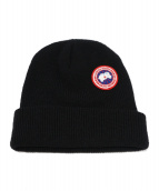 CANADA GOOSE(カナダグース)の古着「ロゴワッペンニット帽 ビーニー」|ブラック