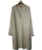 MAX&Co.(マックスアンドコー)の古着「レザーニットロングカーディガン」|ホワイト