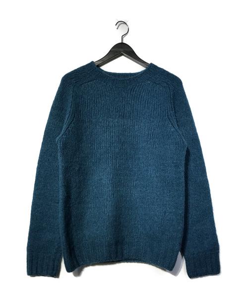 INVERALLAN(インバーアラン)INVERALLAN (インバーアラン) ウールニット ブルー サイズ:38 クルーネックの古着・服飾アイテム