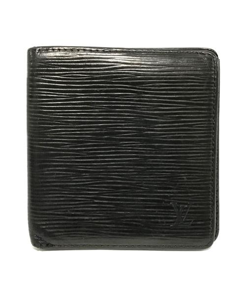 LOUIS VUITTON(ルイ ヴィトン)LOUIS VUITTON (ルイヴィトン) ポルトビエ6カルトクレディ 二つ折札入れ ブラック エピ M63312 UA1022の古着・服飾アイテム