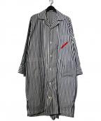 PHINGERIN(フィンガリン)の古着「SLEEPER ITLロングシャツ」|ネイビー×ホワイト