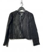 CHANEL()の古着「シルクノーカラージャケット」 ブラック