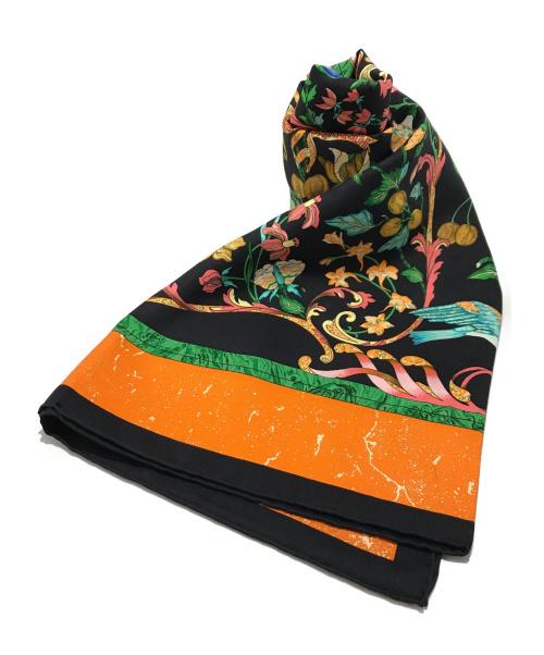 HERMES(エルメス)HERMES (エルメス) カレ90 シルクスカーフ 東洋の石と西洋の石細工 ブラック×オレンジ サイズ:90㎝ PiERRES d ORiENT et d OGGの古着・服飾アイテム