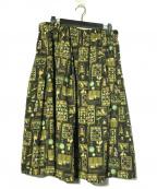 franche lippee(フランシュリッペ)の古着「Museum丈長スカート」 ブラック×グリーン