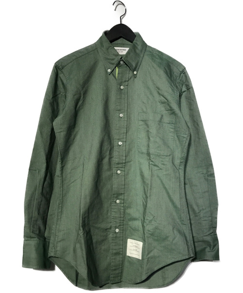 Thom Browne(トムブラウン)Thom Browne (トムブラウン) テープボタンダウンオックスフォードシャツ グリーン サイズ:1 CLASSIC LS BD BC SHIRT IN SOLID GREEN OXFORDの古着・服飾アイテム