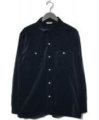 ()の古着「ベルベットオープンカラーワイドシャツ」 ブラック