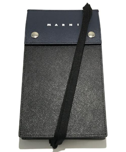 MARNI(マルニ)MARNI (マルニ) レザー ネックポーチ ショルダーバッグ PHONE ケース ネイビー×ブラック サイズ:以下参照 TEMl0006U0 LV520の古着・服飾アイテム