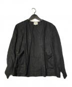 MORRIS&SONS(モリスアンドサンズ)の古着「リネンカラーレスジャケット」 ブラック