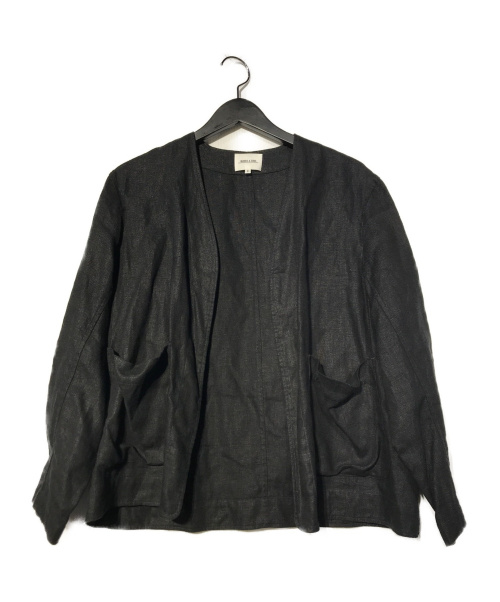 MORRIS&SONS(モリスアンドサンズ)MORRIS&SONS (モリスアンドサンズ) リネンカラーレスジャケット ブラックの古着・服飾アイテム
