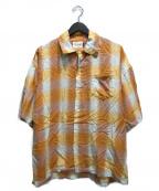 CAL O LINE(キャルオーライン)の古着「PLAID OPEN COLLAR SHIRT」 オレンジ
