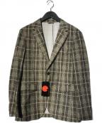 COMME CA MEN(コムサメン)の古着「モナリザチェック3Pセットアップスーツ」 ベージュ