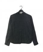 休日と詩(キュウジツトウタ)の古着「バンドカラーシャツ」|グレー