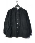 ()の古着「リネンフリルシャツ」 ブラック