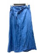 ()の古着「リネンラップスカート」 ブルー