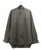 URBAN RESEARCH(アーバンリサーチ)の古着「WASHABLEウールバンドカラーシャツ」|ブラウン