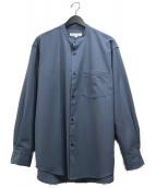 ()の古着「WASHABLEウールバンドカラーシャツ」|ブルー