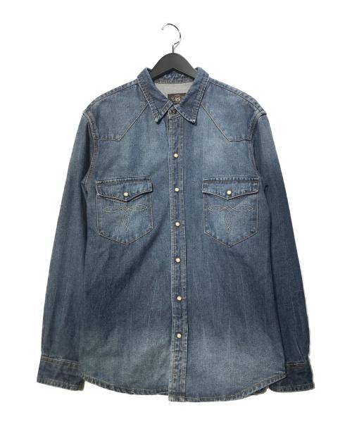 RRL(ダブルアールエル)RRL (ダブルアールエル) コンチョボタンバッファローウエスタンデニムシャツ ブルー サイズ:XLの古着・服飾アイテム