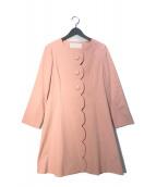 ()の古着「スカラップノーカラーコート」 ピンク
