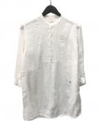 JOURNAL STANDARD(ジャーナルスタンダード)の古着「バンドカラーギャザーシャツ」|アイボリー