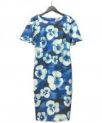 Calvin Klein(カルバンクライン)の古着「フラワープリントワンピース」|ブルー