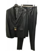 ()の古着「クールマックス2ボタンストライプスーツ」 ブラック