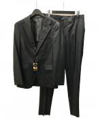 COMME CA MEN(コムサメン)の古着「クールマックス2ボタンストライプスーツ」|ブラック