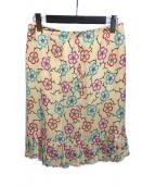 ()の古着「フラワーパターンシルクスカート」 アイボリー