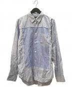 COMME des GARCONS HOMME DEUX(コムデギャルソン オム ドゥ)の古着「チェックストライプ切替L/Sシャツ」|ブルー