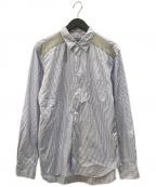 COMME des GARCONS HOMME DEUX(コムデギャルソン オム ドゥ)の古着「切替ストライプL/Sシャツ」|ブルー