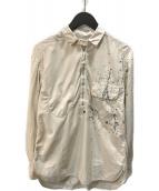()の古着「ペイントハーフジップシャツ」|ベージュ