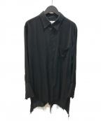 sulvam(サルバム)の古着「DOUBLE OPEN SHIRT ダブルオープンシャツ」|ブラック