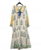 SZ Blockprints(エスゼットブロックプリント)の古着「Jodhpur Dress ワンピース」|ブルー×ホワイト