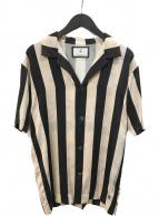 ()の古着「Flower Stripe Print Shirt シャツ」 ホワイト×ブラック