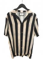 MIHARA YASUHIRO(ミハラヤスヒロ)の古着「Flower Stripe Print Shirt シャツ」 ホワイト×ブラック