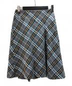 BURBERRY BLUE LABEL(バーバリーブルーレーベル)の古着「チェックプリーツスカート」|ブルー