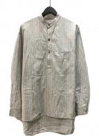 ()の古着「バンドカラープルオーバーストライプシャツ」 グレー