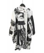 ()の古着「フーデッドコート」|ホワイト×ブラック