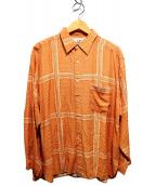 C.P COMPANY(シーピーカンパニー)の古着「総柄シャツ」|オレンジ×ホワイト