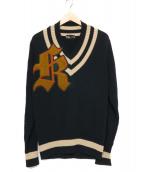 KOLOR(カラー)の古着「ミドルゲージコットンワッペンチルデンニット」|ベージュ×ネイビー