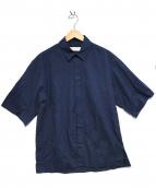 JAN MACHENHAUER(ヤンマッケンハウアー)の古着「半袖比翼シャツ」|ネイビー
