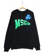 MSGM(エムエスジーエム)の古着「パーム柄ロゴプリントスウェット」|ブラック