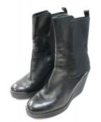 MONCLER(モンクレール)の古着「ウェッジソールレザーブーツ」|ブラック