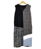 MaxMara(マックスマーラ)の古着「ノースリーブワンピース」|ブラック×ホワイト