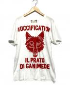 GUCCI(グッチ)の古着「ダメージ加工プリントTシャツ」 ホワイト×レッド