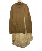 MAISON FLANEUR(メゾン フラネウール)の古着「ドッキングワンピース」 ベージュ