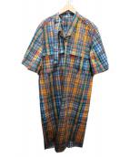 TOGA PULLA(トーガプルラ)の古着「ブロードチェックドレス」|オレンジ×ブルー